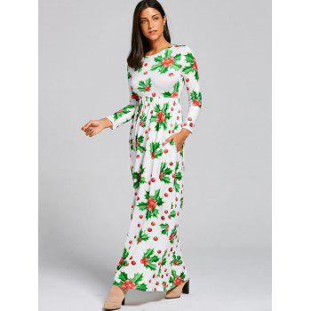 Christmas Berries Print Maxi Dress - GREEN S