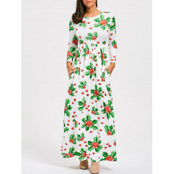 Christmas Berries Print Maxi Dress - GREEN XL