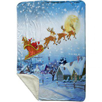 Christmas Moon Sled Print Soft Fleece Thermal Blanket - CLOUDY W39.4INCH*L59.1INCH