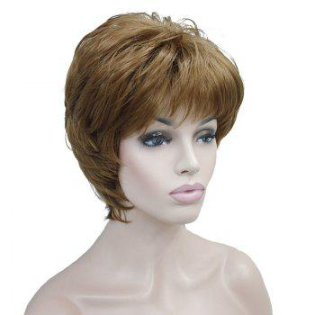 Short Inclined Fringe Shaggy Layered Straight Human Hair Wig - GOLDEN GOLDEN
