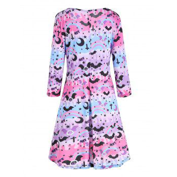 Plus  Size Lace Up High Low Halloween Dress - PINK/PURPLE 5XL