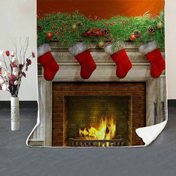 Christmas Fireplace Pattern Soft Fleece Blanket - COLORMIX W59 INCH * L79 INCH