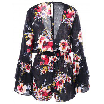 Surplice Neck Flare Sleeve Floral Romper - FLORAL 2XL