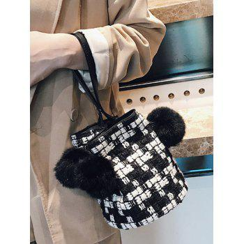 Pom Pom Contrasting Color Tote Bag - BLACK