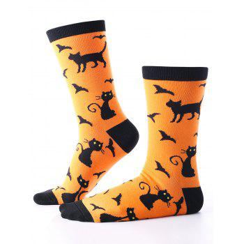 Halloween Bats Cats Pattern Calf Socks - ORANGE