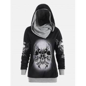 Skull and Wings Print Halloween Hoodie - GRAY XL