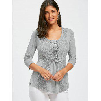 Lace Panel Lace Up Top - GRAY GRAY