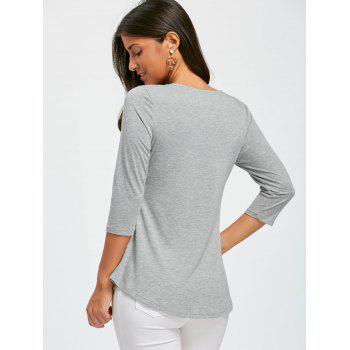 Lace Panel Lace Up Top - GRAY L
