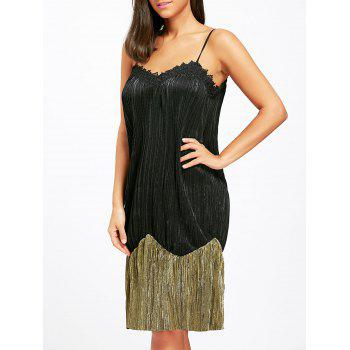 Two Tone Pleated Slip Night Dress - BLACK XL