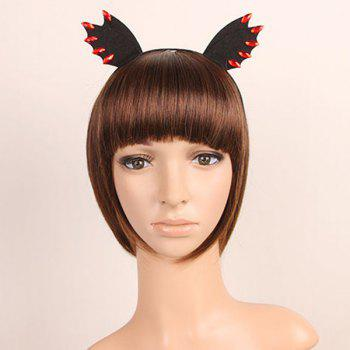 Faux Ruby Halloween Devil Bat Wing Hairband - BLACK BLACK