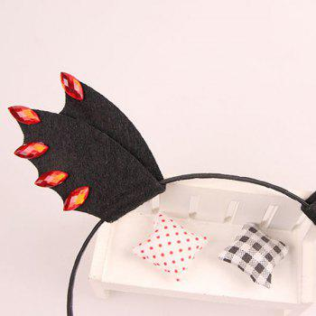 Faux Ruby Halloween Devil Bat Wing Hairband -  BLACK