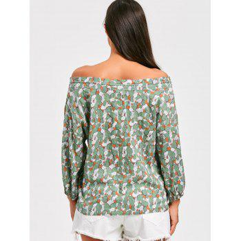 Off The Shoulder Floral Print Tunic Blouse - GREEN GREEN