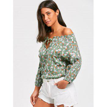 Off The Shoulder Floral Print Tunic Blouse - ONE SIZE ONE SIZE