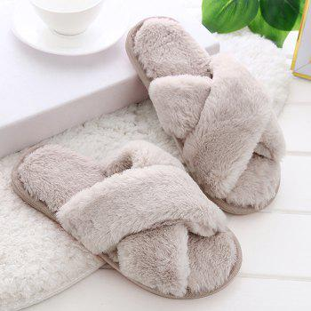 Faux Fur Cross Strap Open Toe Slippers