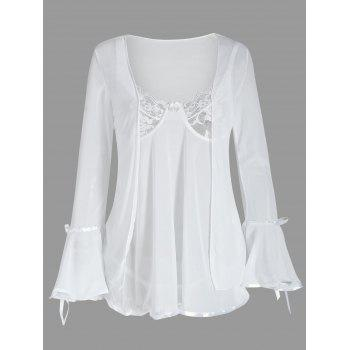 Mesh Babydoll with Flare Sleeve Cover Up - WHITE WHITE
