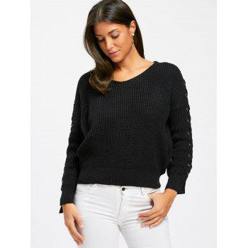 Lace Up V Neck Chunky Sweater - ONE SIZE ONE SIZE