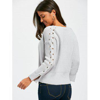 Lace Up V Neck Chunky Sweater - GRAY ONE SIZE