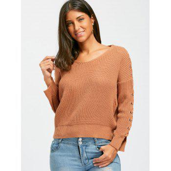 Lace Up V Neck Chunky Sweater - BROWN BROWN
