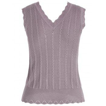 V Neck Knitted Vest - BROWN ONE SIZE