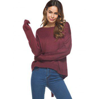 Drop Shoulder Cut Out Criss Cross Sweater - WINE RED ONE SIZE