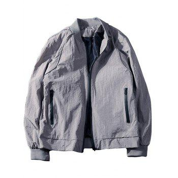 Slim-fit Side Pocket Zip Up Jacket - GRAY GRAY