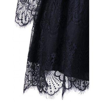 Halloween Cold Shoulder Eyelash Lace Dress - 2XL 2XL
