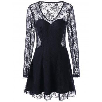 Halloween See Thru Spider Lace Dress - BLACK 2XL