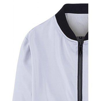 Slim-fit Stand Collar Zip Up Jacket - M M
