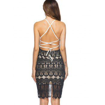 Lace Up Backless Mini Bodycon Lace Dress - BLACK BLACK