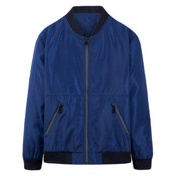 Slim-fit Stand Collar Zip Up Jacket - BLUE M