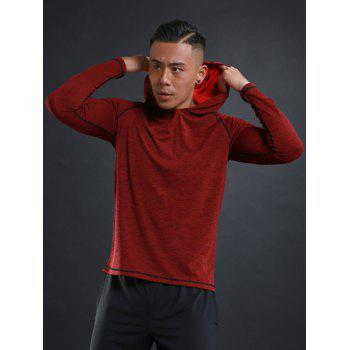 Stretchy Raglan Sleeve Pullover Sports Hoodie - RED RED