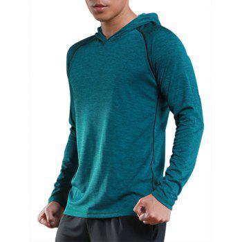 Stretchy Raglan Sleeve Pullover Sports Hoodie - GREEN GREEN