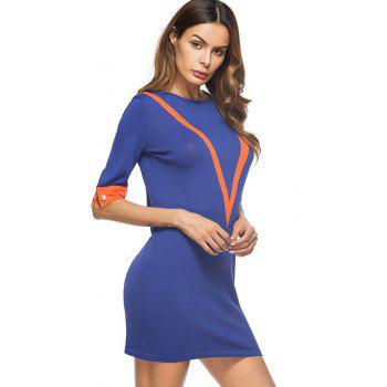 Color Block Knit Mini Bodycon Dress - BLUE BLUE