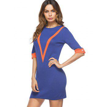 Color Block Knit Mini Bodycon Dress - ONE SIZE ONE SIZE