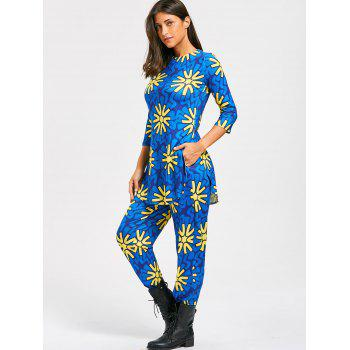 Floral Print Slit T-shirt and High Waist Pants - BLUE XL