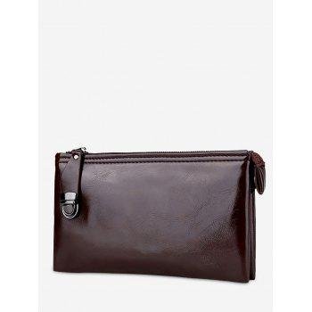 Zip PU Leather Clutch Bag