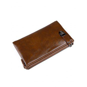 Zip PU Leather Clutch Bag - BROWN