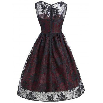 Lace Insert Sleeveless A Line Dress - WINE RED L