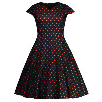 Cap Sleeve Polka Dot Print 50s Dress