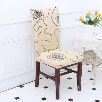 Rose Printed Stretch Elastic Removable Chair Cover - BEIGE BEIGE