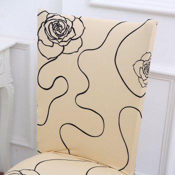 Rose Printed Stretch Elastic Removable Chair Cover - BEIGE