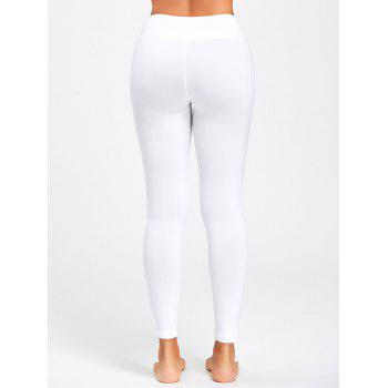 See Through Cutout Ripped Sports Leggings - WHITE S