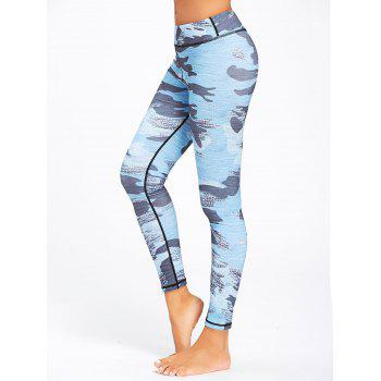Sports Camo Printed Running Leggings - NAVY BLUE NAVY BLUE