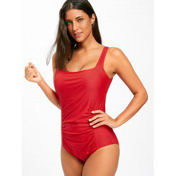 One Piece Ruched Square Neck Swimsuit - RED M