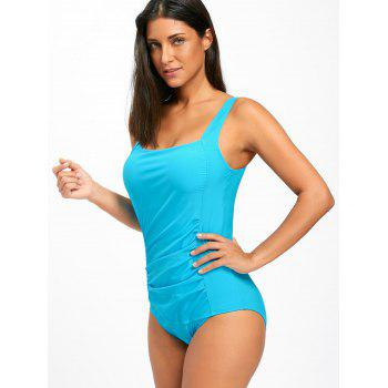 One Piece Ruched Square Neck Swimsuit - BLUE L