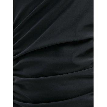 One Piece Ruched Square Neck Swimsuit - BLACK L