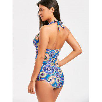 Halter Backless Printed Tankini Set - COLORMIX COLORMIX