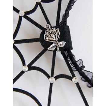 Halloween Spider Web Rose Lace Hairband - BLACK