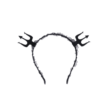 Halloween Devil Lace Hairband -  BLACK
