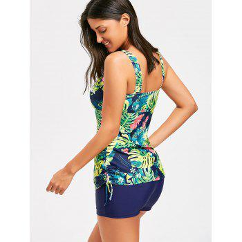 Tropical Print Padded Tankini Set - COLORMIX L